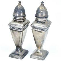 Vintage Silver Salt & Pepper Shaker Set Stamped 1030 image 3
