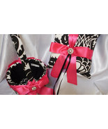 DAMASK RING BEARER Pillow and Flower Girl Basket  Amsterdam Black and Wh... - $55.95