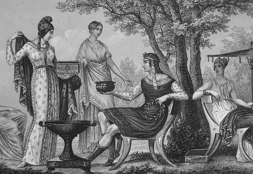 GREECE Greek Costume Women Singer Amazon Spinner - 1844 Antique Print Engraving