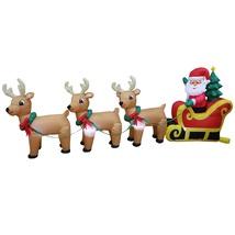 8 Foot Long Christmas LED Inflatable Santa Claus Reindeer Sleigh Yard De... - $129.23
