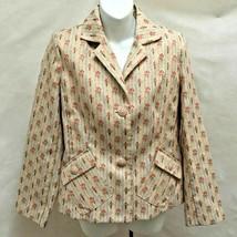 Sag Harbor 8 Blazer Jacket Beige Multicolor Floral Embroidered Pockets - $21.54