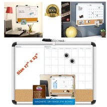 NEW Calendar Note Magnetic White Board Aluminum Frame Cork Lap Memo Mark... - $60.88