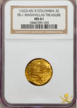 COLOMBIA 2 ESCUDOS 1623-65 MARAVILLAS TREASURE 1656 PIRATE GOLD COINS SH... - $4,450.00