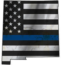Thin Blue Line Police State of  New Mexico LaserCutOut Metal Sign 17Hx16W - $25.74