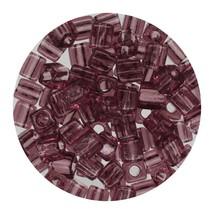 Square Glass Beads Japan 4mm Miyuki Cube Transparent Amethyst - $6.94
