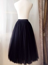 "BLACK MIDI TULLE SKIRTS High Waisted Black Full Tutu Skirts -27.5""long, 24""-29""W image 5"