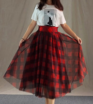 Womens Red Plaid Skirt Long Tulle Plaid Skirt - Red Check,High Waist, Plus Size image 6