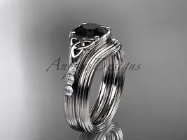 Black Diamond Celtic wedding sets,14k white gold diamond triquetra knot CT7333S - $1,695.00