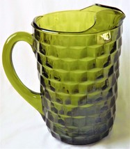 "1960s-1970s Indiana Glass Whitehall Pattern Pitcher 64 OZ Olive Green 8""... - $68.00"