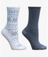 CUDDL DUDS Womens Snowflake Fair Isle Boot Socks Ivory Grey 2 Pack $16 -... - $9.89