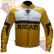 DUCATI YELLOW MOTORBIKE MOTORCYCLE BIKERS COWHIDE LEATHER ARMOURED JACKET - $194.99