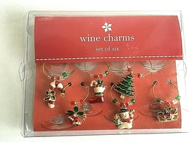 Target Christmas 2003 Holiday Wine Charms Set Of 6 - New In Box Box show... - $12.62