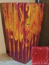 "Art Pottery 9"" Vase Mid Century red yellow orange drip glaze marked USA ... - $99.99"