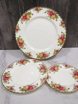 3 PC Royal Albert Old Country Roses Place Setting Plates Dinner Salad Bread - $24.75