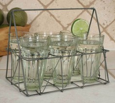 Glass Holder Caddy Six Drinking Glasses Rectangular Wire French Country ... - $34.64