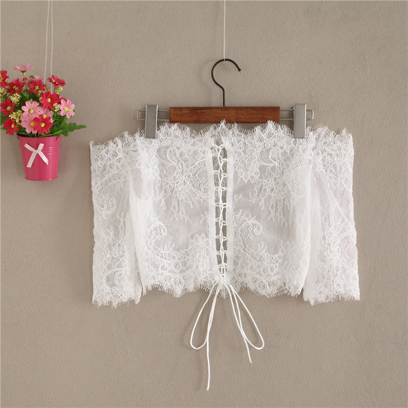 White Bridal Lace Top-Off Shoulder Crop Sleeve Fitted Lace Shirt-Plus Size,White