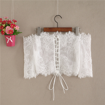 White Bridal Lace Top-Off Shoulder Crop Sleeve Fitted Lace Shirt-Plus Size,White image 3