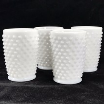 "FENTON Vintage 3 3/8"" Milk Glass Hobnail Glasses (x4) 4 oz Juice Glasse ... - $19.34"
