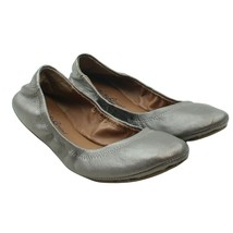 LUCKY BRAND Emmie Womens Size 6 Bronze Pewter Leather Slip-on Ballet Flats - $19.79
