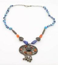 Tibetan Silver Coral Turquoise Lapis lazuli Gemstone Medallion Necklace Vintage - $593.99