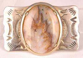 """Vtg Belt Buckle-Set Stone-Hand Stamped Metal-Western-Fits 1"""" Belt - $46.74"""