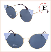 FENDI LEI 0190 Gold Blue Geometric Cat Eye Metal Flat Sunglasses FF0190S... - $178.20
