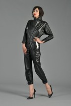 High Neck Hot Sexy Women's Genuine Leather Cocktail Party Outdoor Jumpsuit-JW22