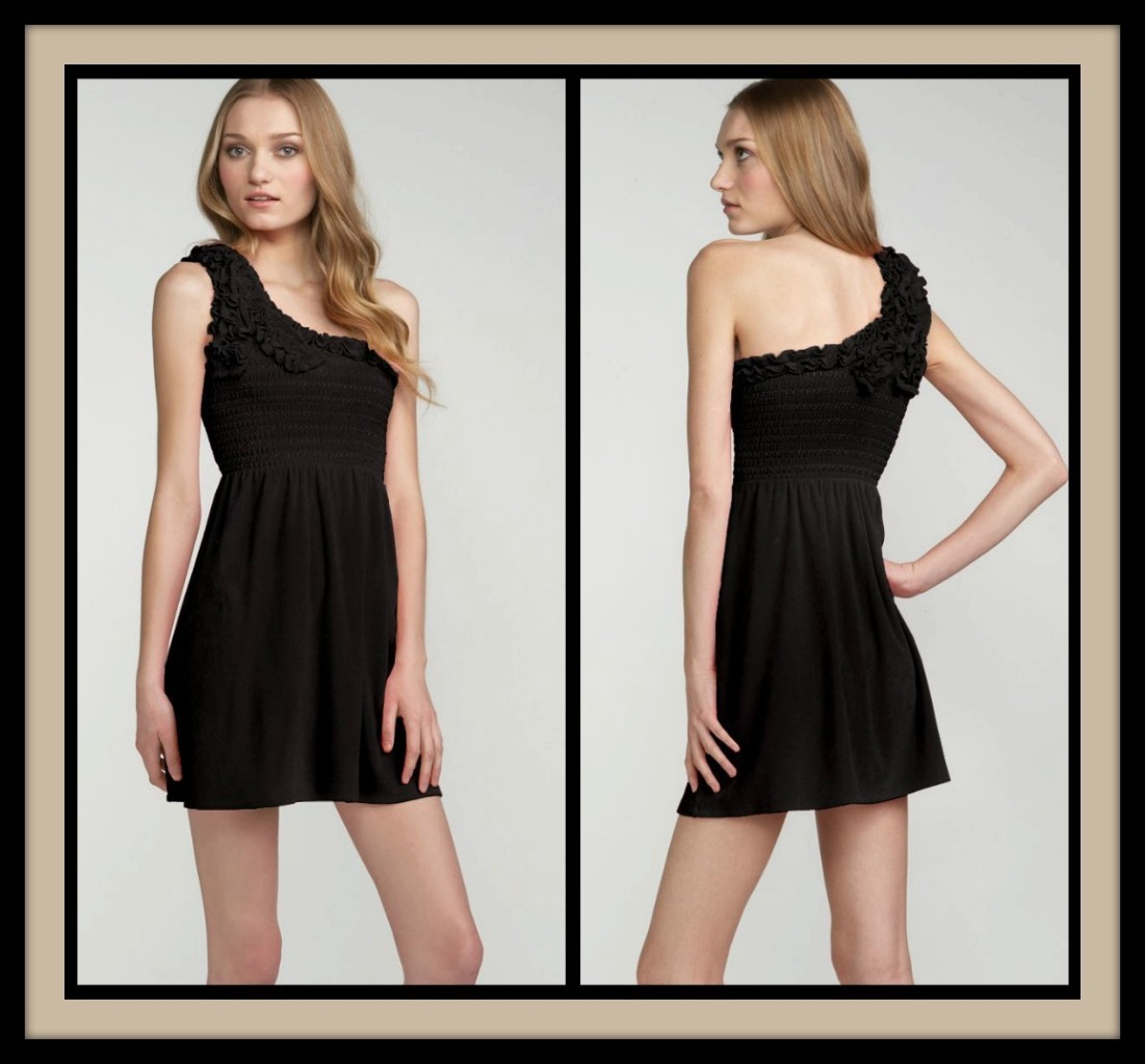 Primary image for Juicy Couture Black One Shoulder Terry Dress Size P/O/XS NWT Retail $118