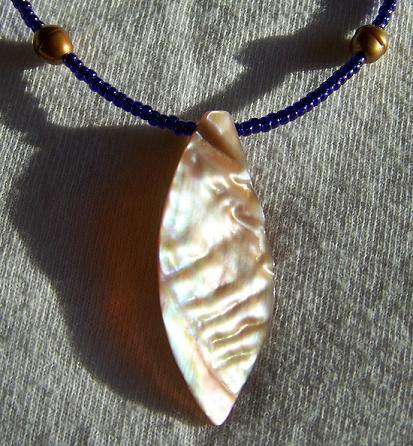 Cobalt Shell and Pearl Handmade Necklace