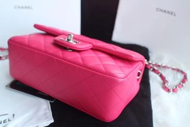 AUTHENTIC CHANEL PINK QUILTED LAMBSKIN LARGE RECTANGULAR MINI CLASSIC FLAP BAG  image 8