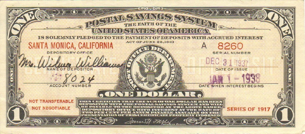 One Dollar U.S. Postal Savings Certificate, 1938 Issue