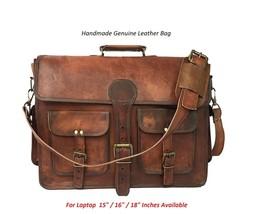New Men's goat leather messenger Real satchel bag genuine laptop brown b... - $55.49+