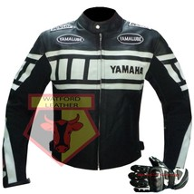 Yamaha 0120 Black Motorbike Cowhide Leather Jacket With Free Pair Of Gloves - $214.99