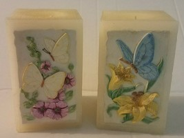 "Lot of 2 3-D Butterflies and Flowers Pillar Candles~5"" tall x 3"" wide Pre-owned - $12.60"