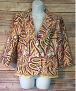 Nue Options Paisley 2 Button blazer jacket Womens Size PM lined 3/4 sleeves - $14.86
