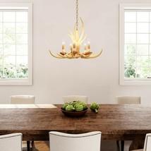 Hanging Chandelier 5 Light Fixture Natural Antler Finish Adjustable Rust... - $209.99