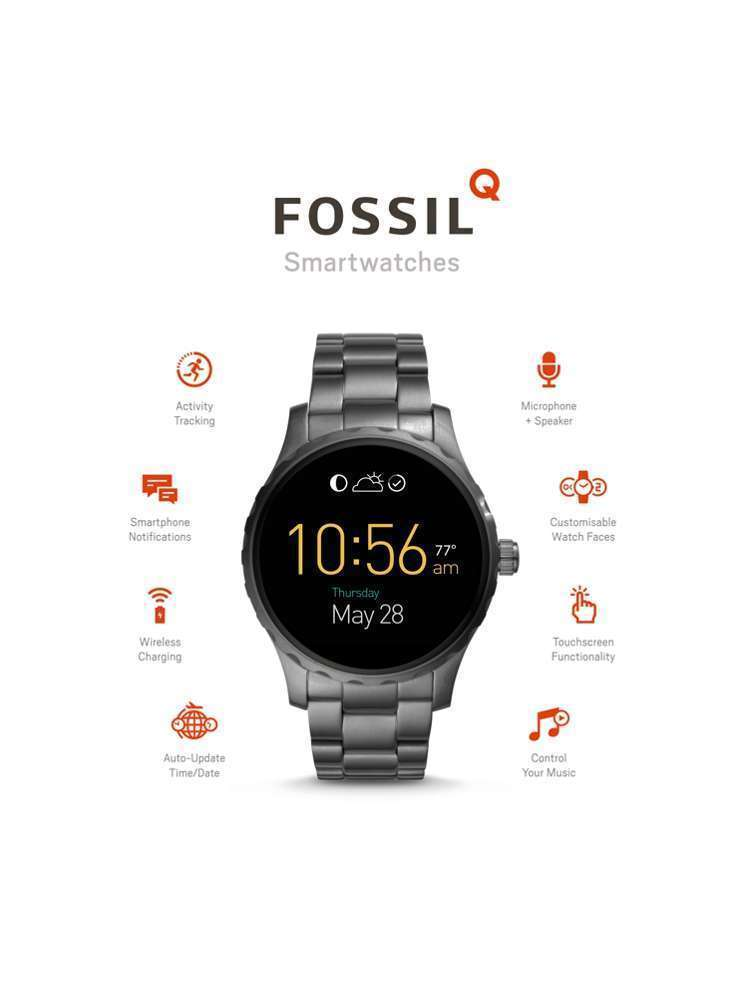 Fossil Q Gen 2 Marshal Smoke Ion-Plated Bracelet Touchscreen Smart Watch FTW2108