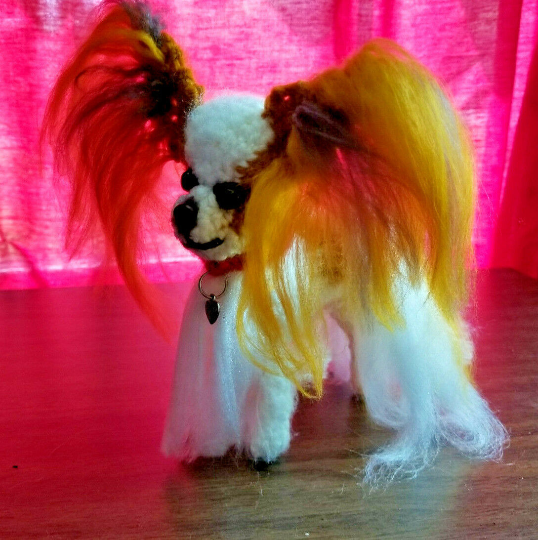 Primary image for Amigurumi  Papillon Red/White Breed Puppy Dog Crochet Handmade Figurines Bren