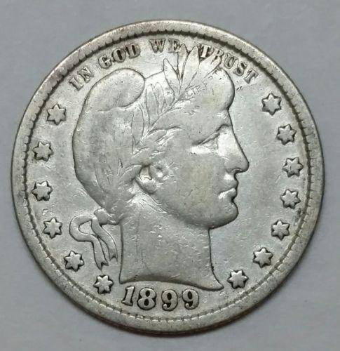 1899 Barber Quarter 25¢ Silver Liberty Head Coin Lot# EA 363