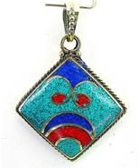 Santa Rosa Southwestern Turquoise with Red Coral + Lapis Sterling Silver... - $167.00