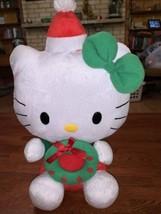 "TY SANRIO HELLO KITTY CHRISTMAS WREATH BEANIE BUDDY 14"" PLUSH STUFFED AN... - $12.99"