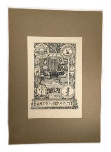 Ex Libris Book Plate Exlibris Masonic Chelsea Mayflower Skull Walter Pratt