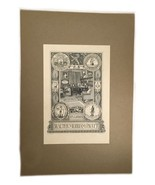 Ex Libris Book Plate Exlibris Masonic Chelsea Mayflower Skull Walter Pratt - $49.49