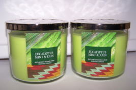 2 Bath & Body Works Eucalyptus Mint & Rain 3 Wick Scented Candle w Lid 1... - $55.95