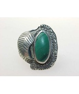 Vintage Genuine MALACHITE RING in STERLING Silver - Size 6 - $60.00