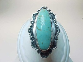 Vintage Large Genuine TURQUOISE RING in STERLING Silver - Size 6 1/4 - F... - $75.00