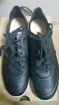 New Women's UGG Australia Treadlite Tye Black Leather Sneakers 8 - $98.99