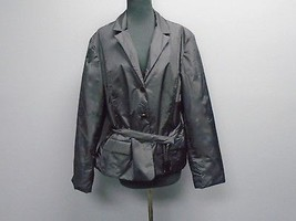 TALBOTS Black Nylon Blend Lined Casual Button Front Belted Jacket Size X... - $39.59