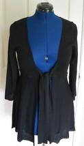 CAbi Tie Frint Cardigan Sweater Cotton Blend Black L Style 286 3/4 Sleev... - $49.95