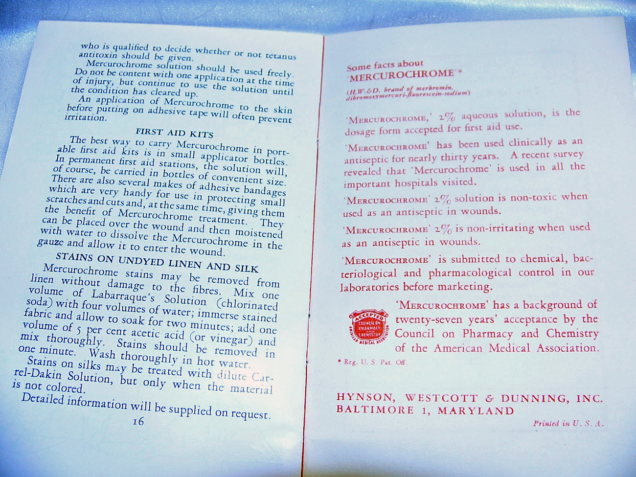 Vintage Mercurochrome First Aid Booklet 1950s